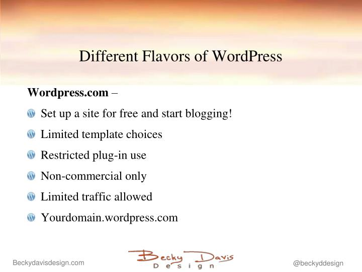 Different flavors of wordpress