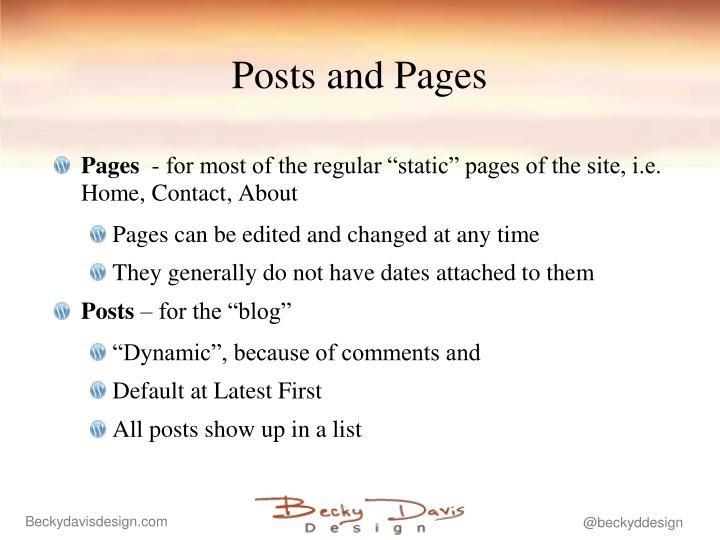 Posts and Pages