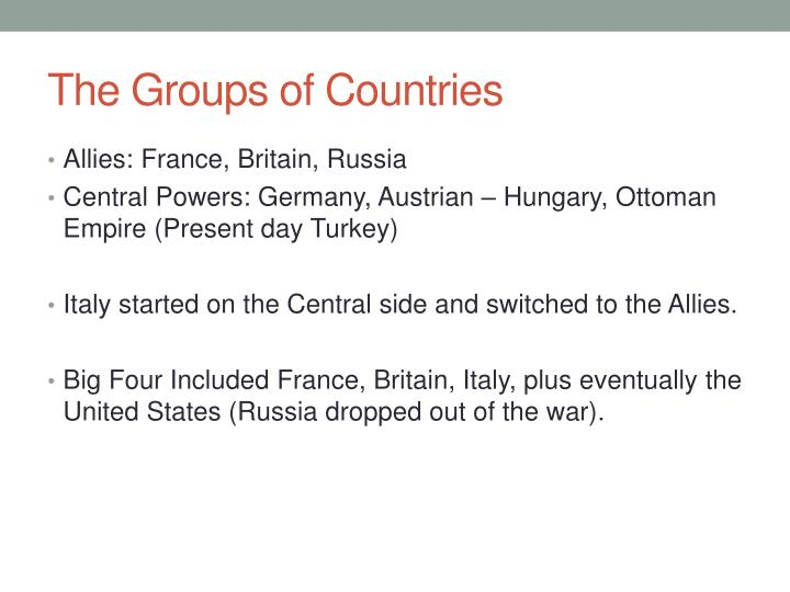 The Groups of Countries