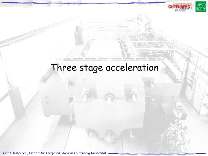 Three stage acceleration