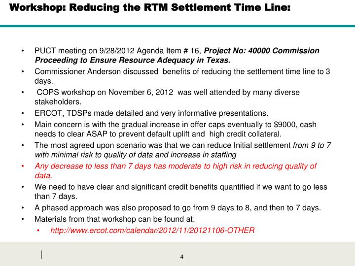 Workshop: Reducing the RTM Settlement Time Line: