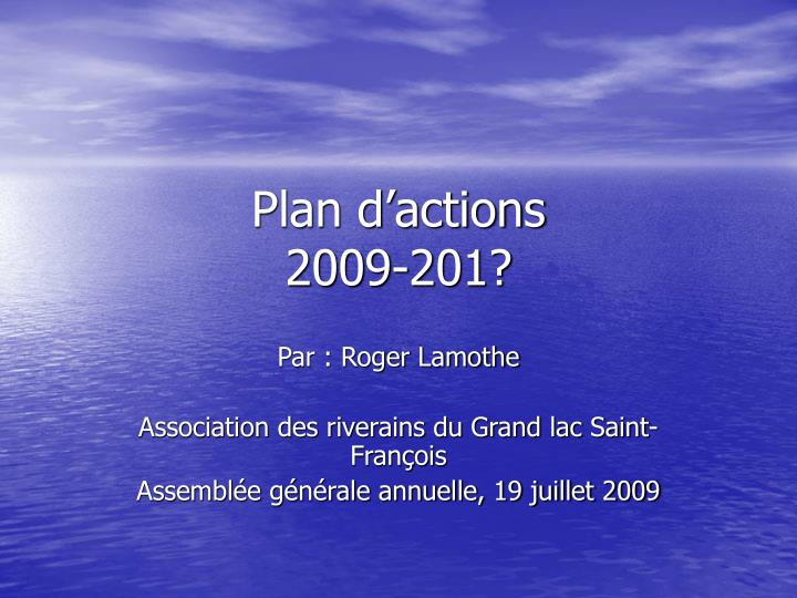 plan d actions 2009 201