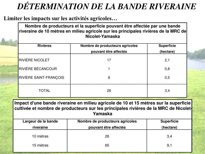 DÉTERMINATION DE LA BANDE RIVERAINE