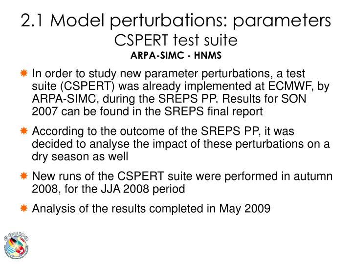2.1 Model perturbations: parameters
