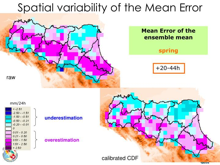 Spatial variability of the Mean Error