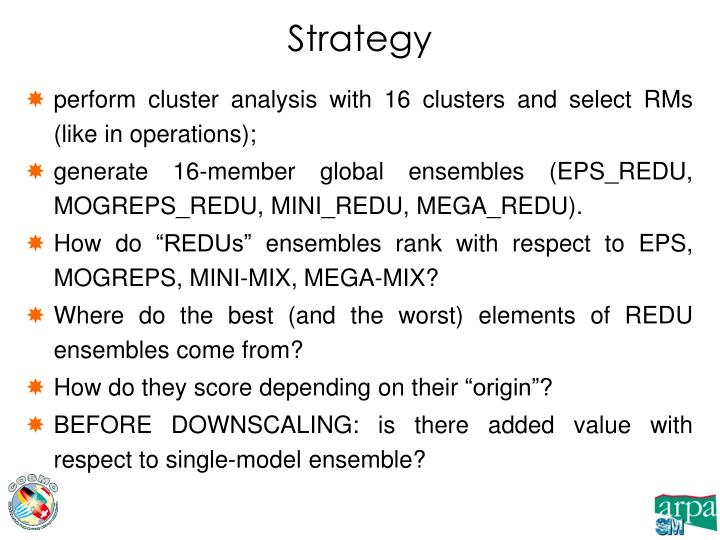 perform cluster analysis with 16 clusters and select RMs (like in operations);