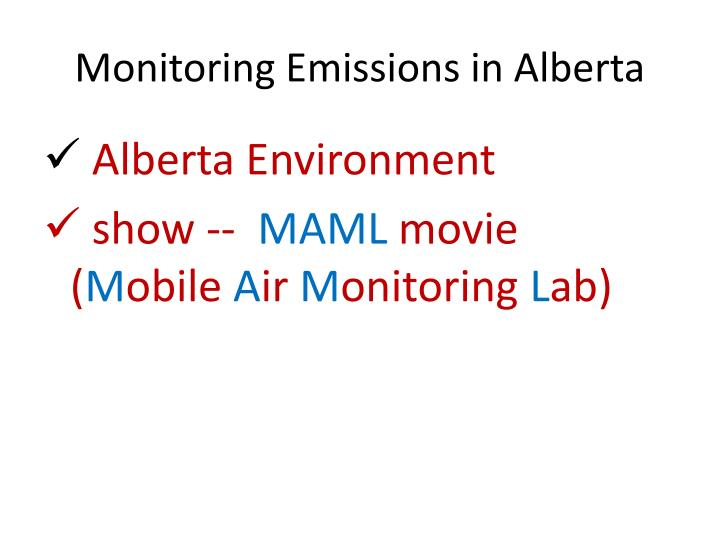 Monitoring Emissions in Alberta