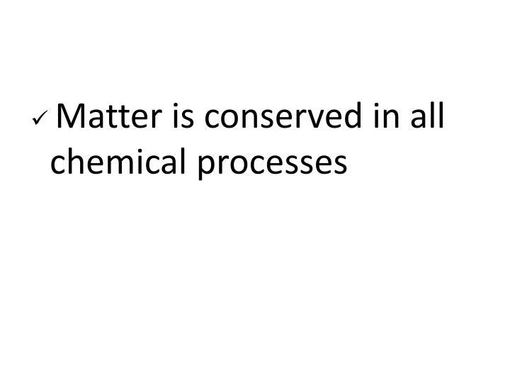 Matter is conserved in all chemical processes