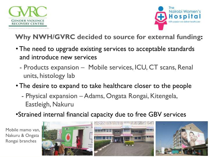 Why NWH/GVRC decided to source for external funding