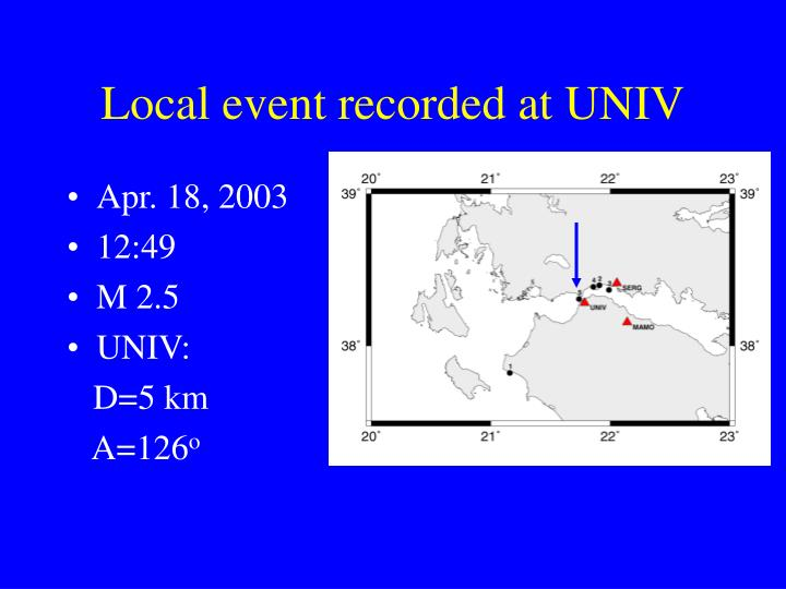 Local event recorded at UNIV