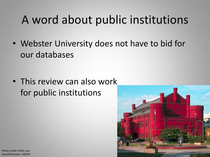 A word about public institutions