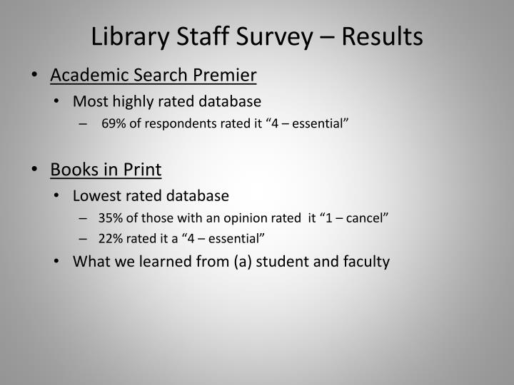 Library Staff Survey – Results
