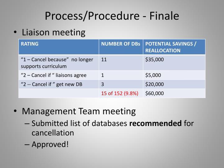 Process/Procedure - Finale