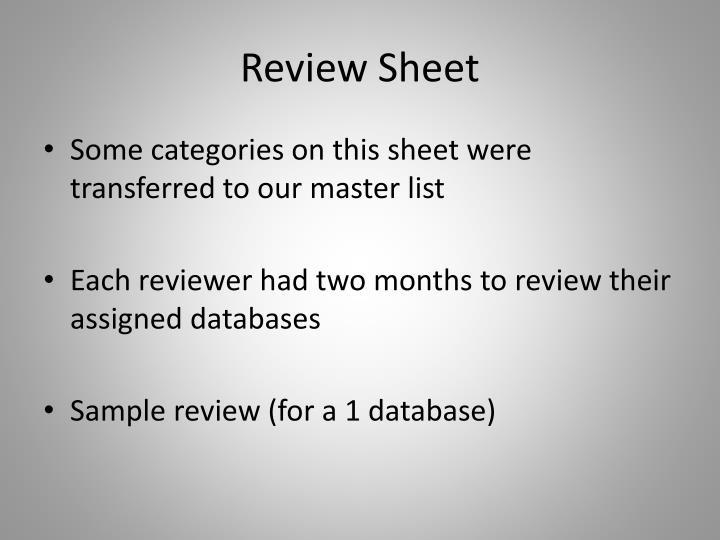 Review Sheet