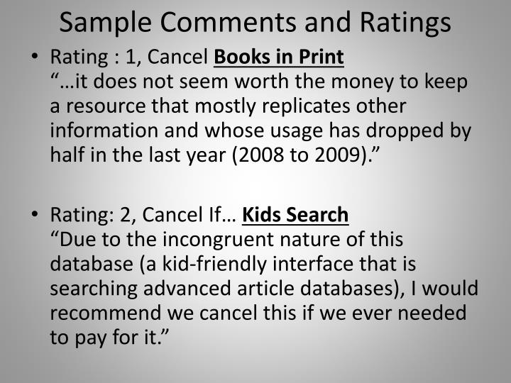 Sample Comments and Ratings
