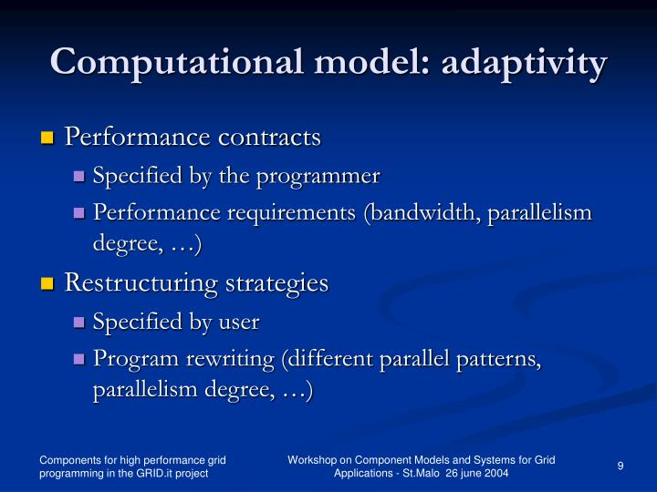 Computational model: adaptivity