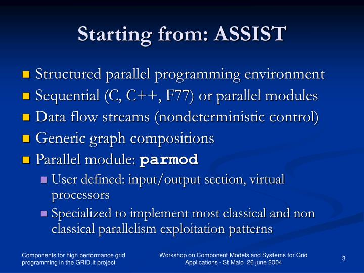 Starting from: ASSIST