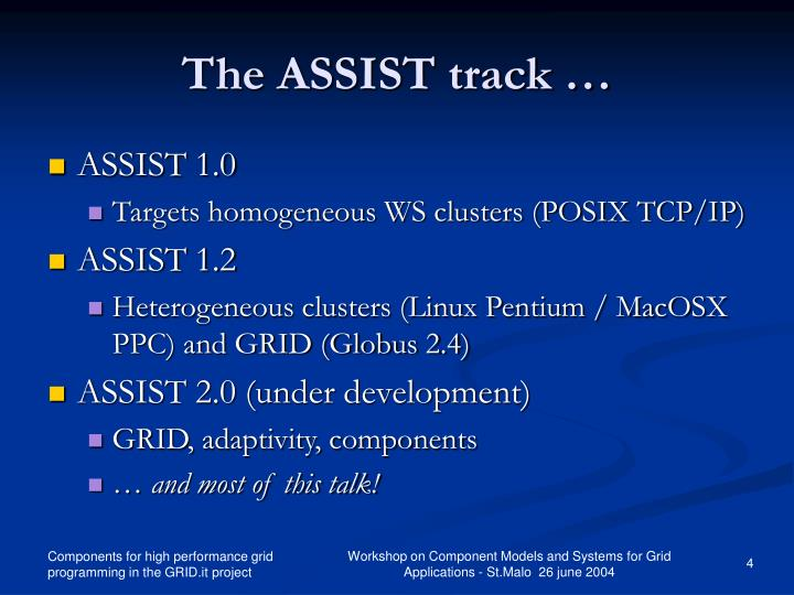 The ASSIST track …