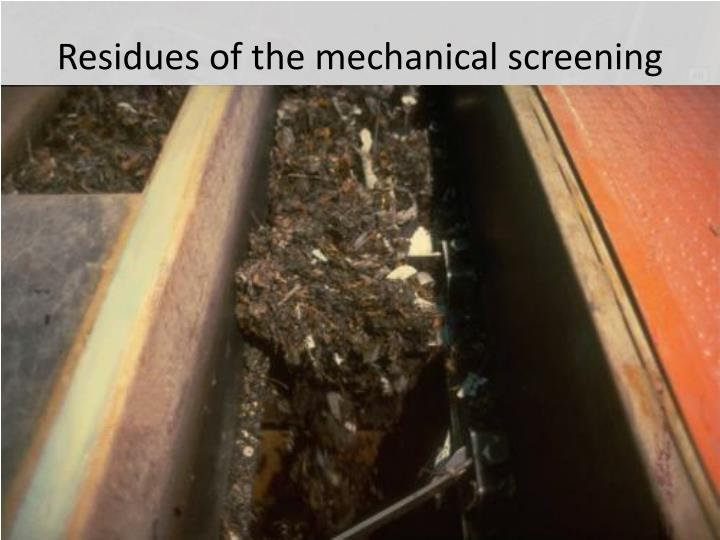 Residues of the mechanical screening