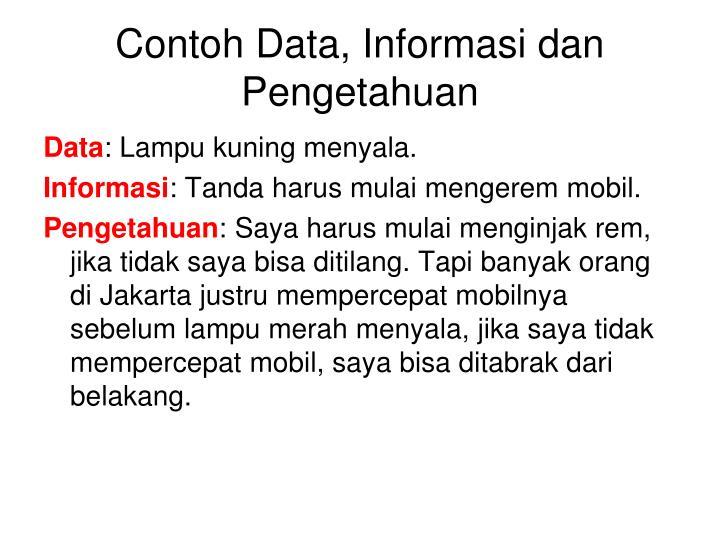 Contoh Data, Informasi dan Pengetahuan