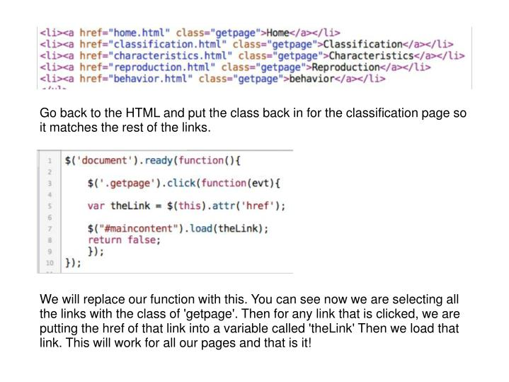 Go back to the HTML and put the class back in for the classification page so it matches the rest of the links.