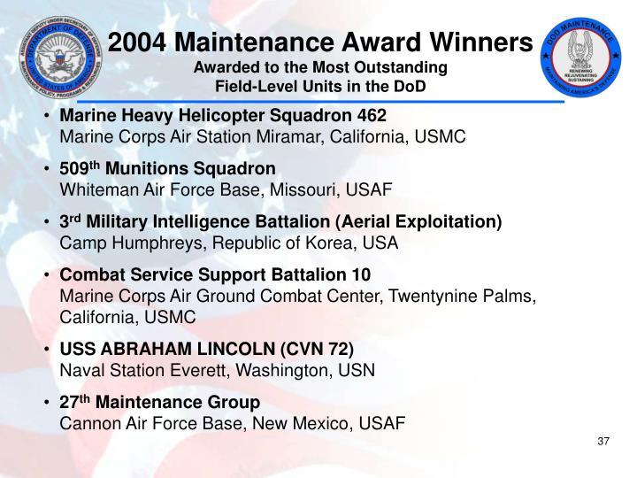 2004 Maintenance Award Winners