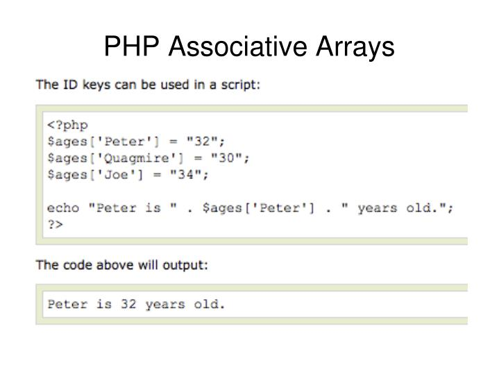 PHP Associative Arrays