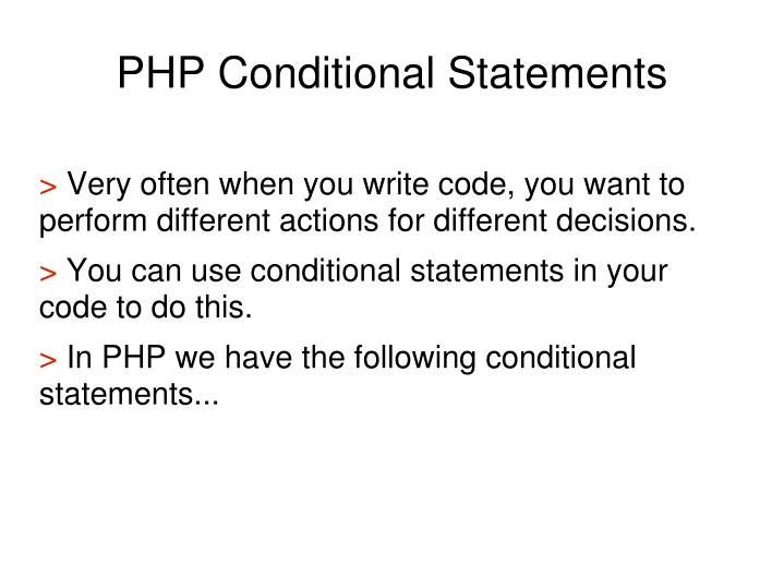 PHP Conditional Statements
