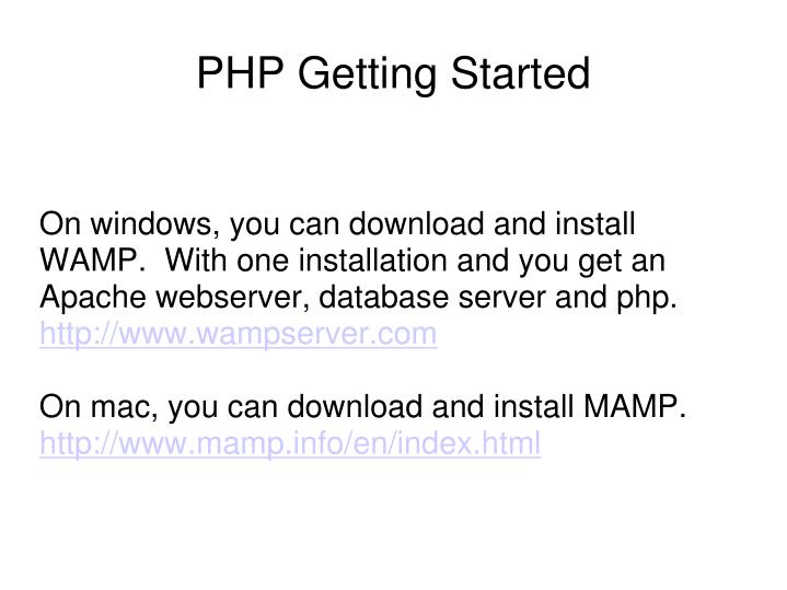 On windows, you can download and install WAMP.  With one installation and you get an Apache webserver, database server and php.