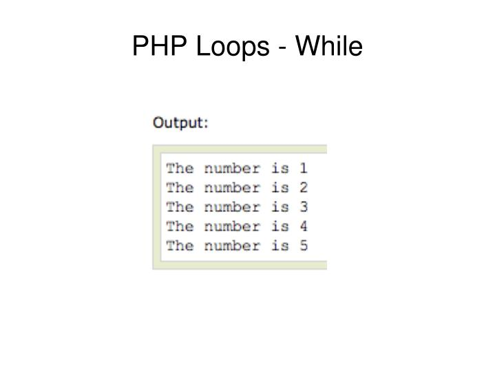 PHP Loops - While