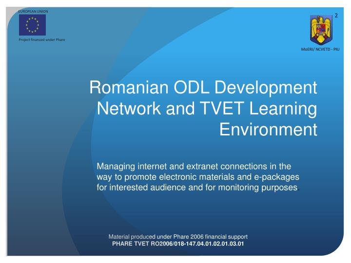 Romanian odl development network and tvet learning environment