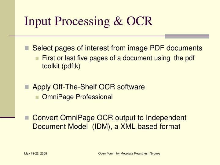 Input Processing & OCR