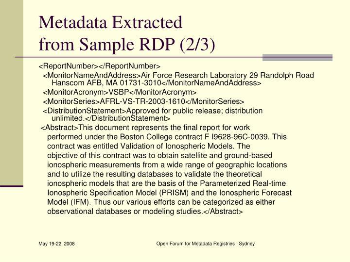 Metadata Extracted