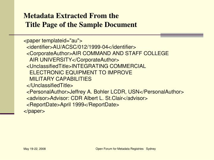 Metadata Extracted From the
