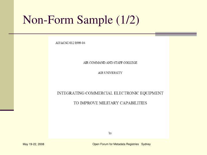 Non-Form Sample (1/2)