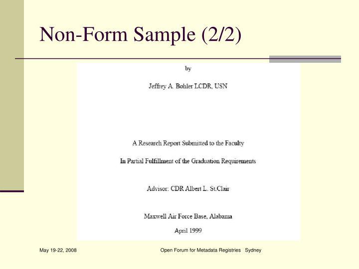 Non-Form Sample (2/2)