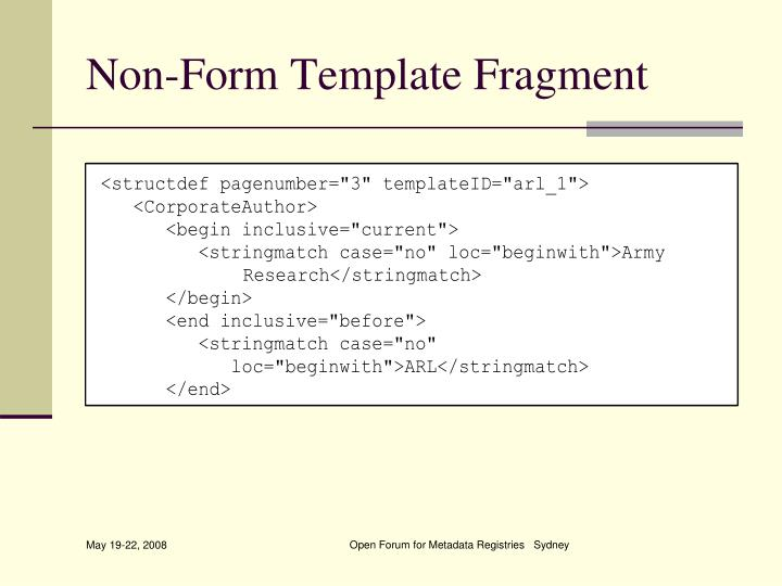 Non-Form Template Fragment