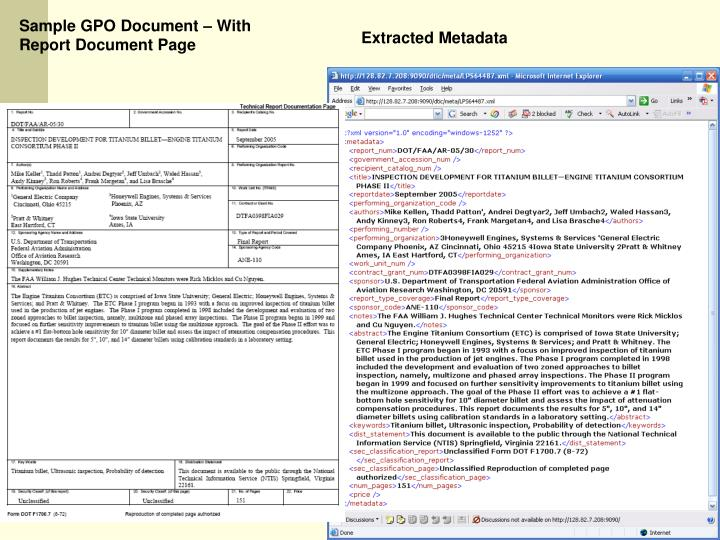 Sample GPO Document – With  Report Document Page