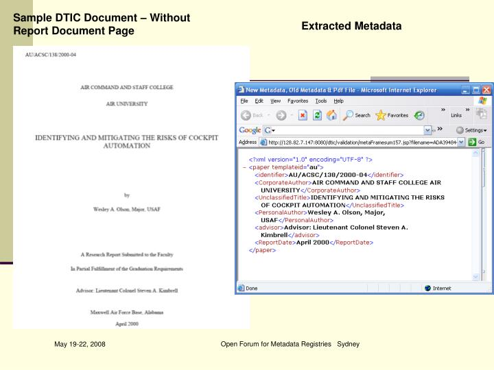 Sample DTIC Document – Without Report Document Page