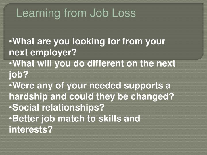 Learning from Job Loss