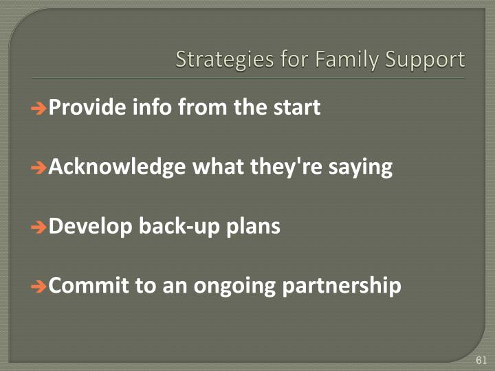 Strategies for Family Support