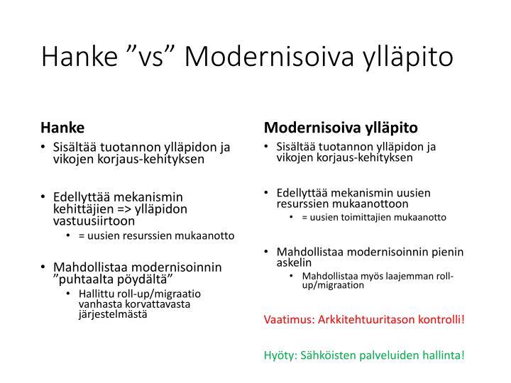 """Hanke """"vs"""" Modernisoiva ylläpito"""