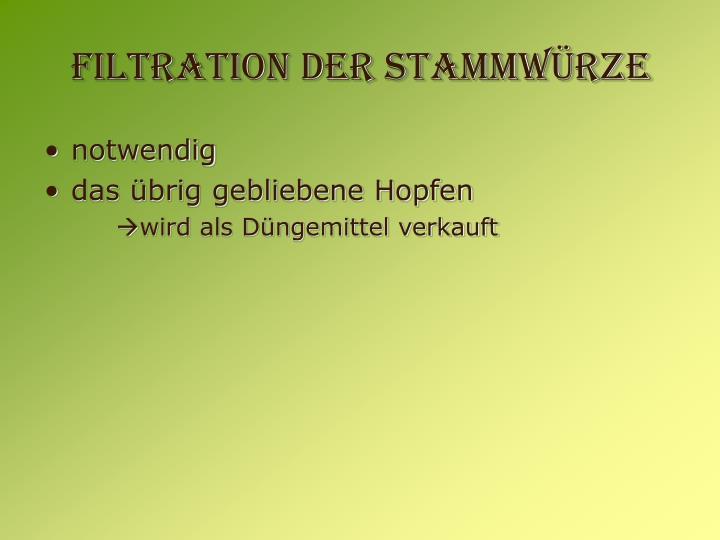 Filtration der Stammwürze