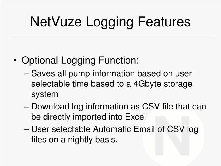 NetVuze Logging Features