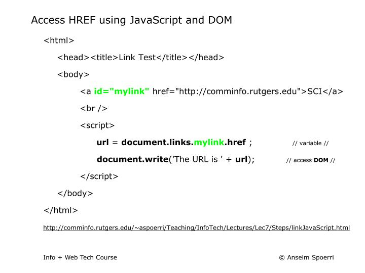 Access HREF using JavaScript and DOM