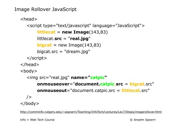 Image Rollover JavaScript