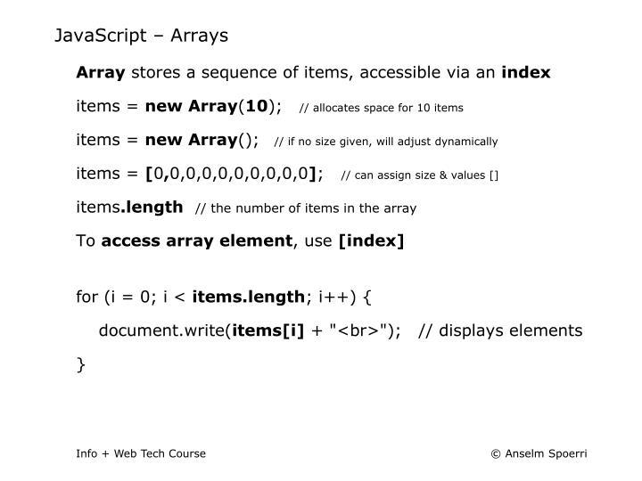 JavaScript – Arrays