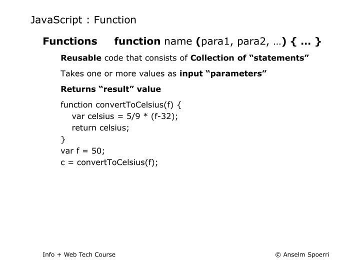 JavaScript : Function