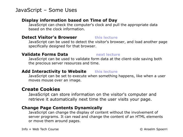 JavaScript – Some Uses