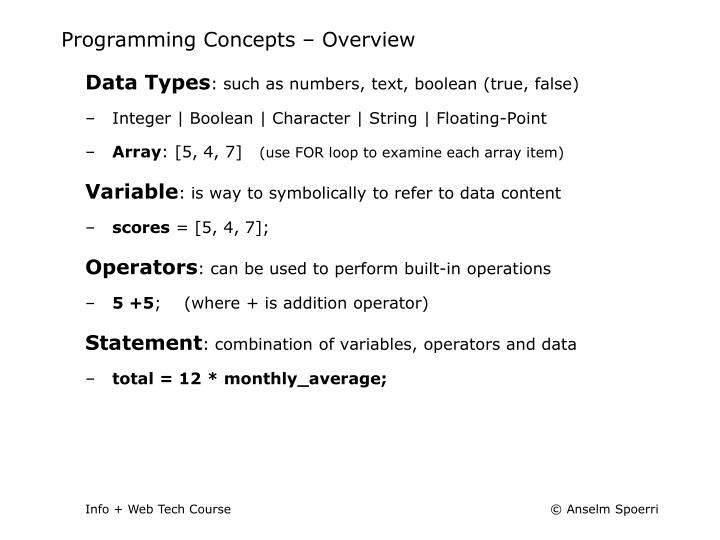 Programming Concepts – Overview